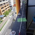 福岡市博多区でマンションベランダの鳩ネット施工